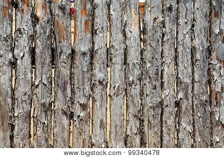 Fence Made Of Logs