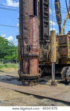 Hydraulic Foundation Piles Drilling Machine On Construction Site