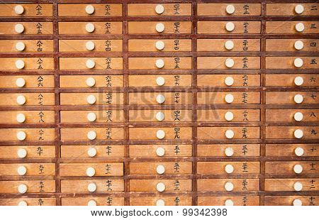 Wooden Locker In Japanese Shinto Temple Vintage