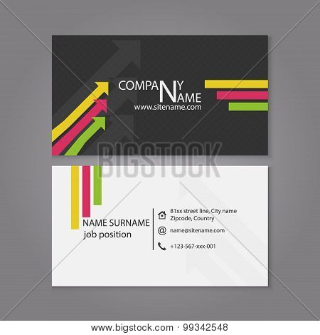 Business card template with arrow pattern