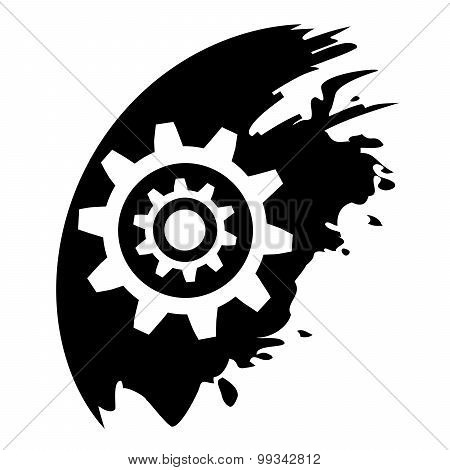 Gear Symbol, Black Blot Vector