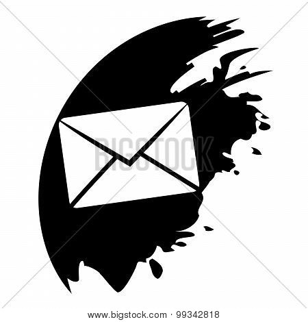Send Email Symbol, Black Blot