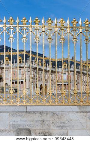 Golden Gate Of Palace Versailles Near Paris, France