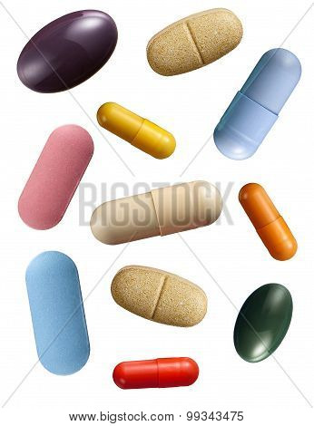 Assorted Pills And Capsules Isolated On White