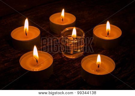 Aromatherapy Candles On The Wooden Background