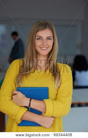 portrait of young female student at school classroom