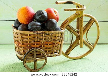 Tasty Nectarines And Plums In A Basket Bicycle