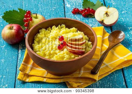 Useful Millet Porridge With Apple And Red Currant