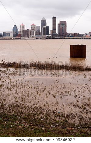 Louisville Kentucky Downtown City Skyline Ohio River Flooding