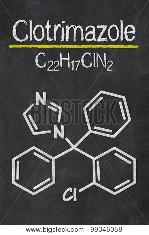 Blackboard With The Chemical Formula Of Clotrimazole