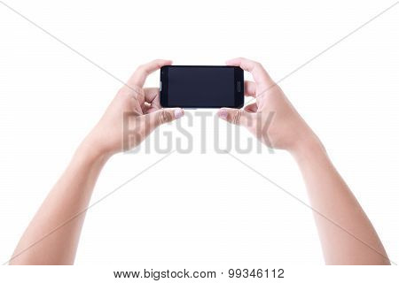 Male Hands Holding Mobile Smart Phone With Blank Screen Isolated On White