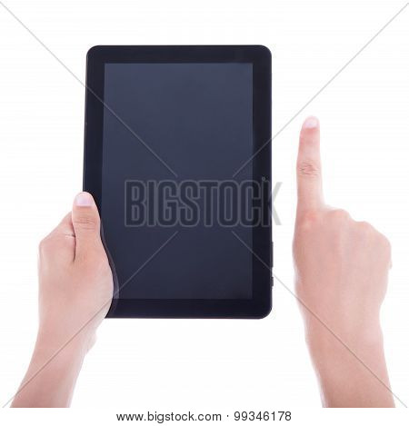 Hands Using Tablet Computer With Blank Screen Isolated On White