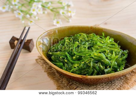 Traditional Japanese Seaweed Salad With Chopsticks