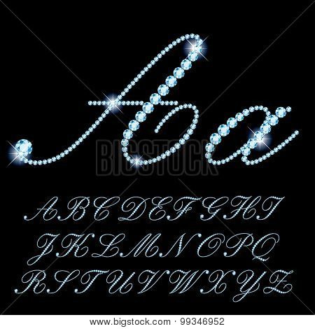 vector detailed script alphabet with diamonds and sparkles