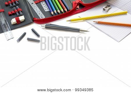 Supplies For School And Office, Isolated On White, Edge Background