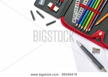 Supplies For School And Office, Isolated On White, Corner Background
