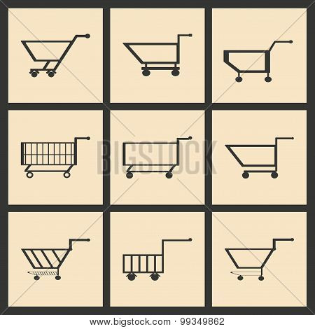 Flat in black and white concept mobile application trolleys
