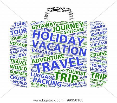 Suitcase word cloud for world travel and vacations