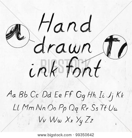 Hand-drawn dirty ink grunge font with alphabet on paper