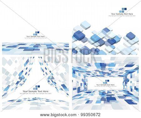 Set Of 4 Checkered Background