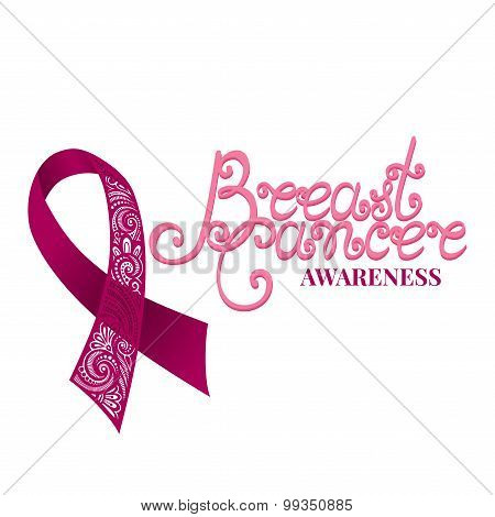 Vector Ornate Pink Ribbon Of Breast Cancer On White Background