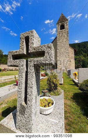 Granite Cross In An Italian Mountain Cemetery