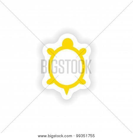 icon sticker realistic design on paper turtle
