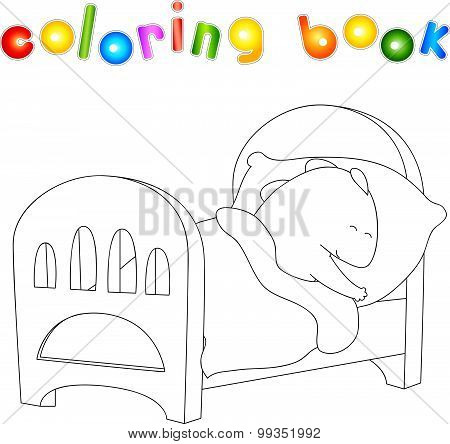 Crummy Bellied Dragon Is Sleeping In His Crib. Coloring Book About Healthy Lifestyle For Children