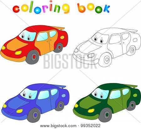 Funny Cartoon Car. Coloring Book For Children