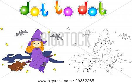 Pretty Friendly Witch Flying On A Broomstick In The Night Sky On Halloween. Connect Dots And Get Ima
