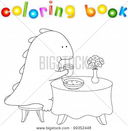Crummy Bellied Dragon Eats His Breakfast: Porridge And Juice. Coloring Book About Healthy Lifestyle