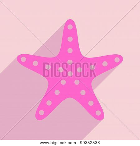 Flat with shadow icon and mobile application starfish