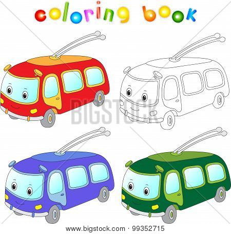 Funny Cartoon Trolleybus. Coloring Book For Kids