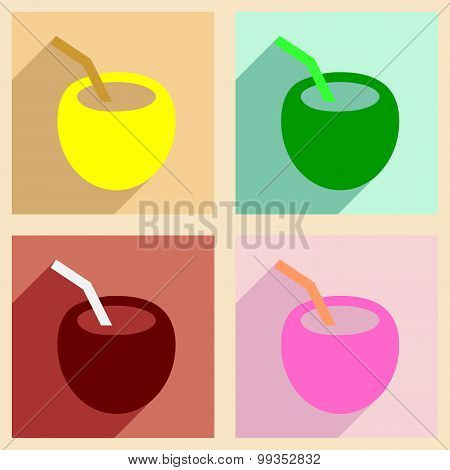 Flat with shadow concept and mobile application coconut drink