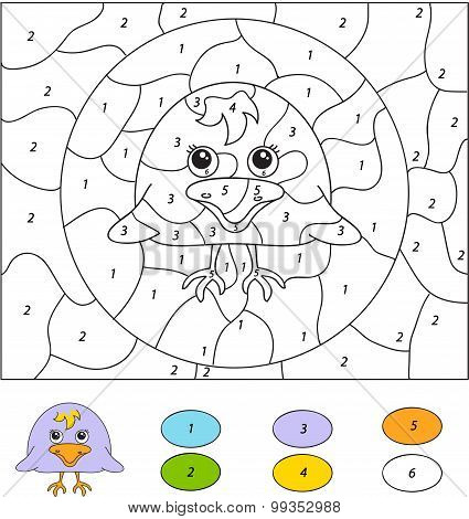 Color By Number Educational Game For Kids. Cute Raven Nestling. Vector Illustration