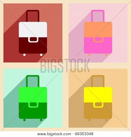 Flat with shadow concept and mobile application Bag with wheels