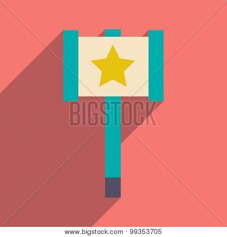 Flat with shadow icon and mobile application toy hammer