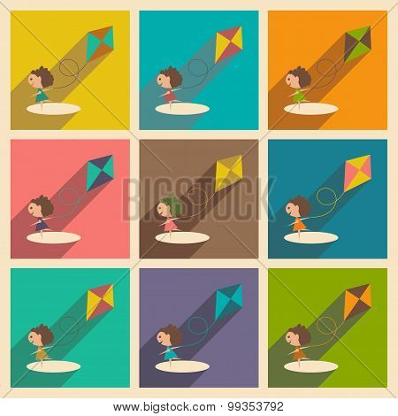 Flat with shadow concept and mobile application girl playing kite
