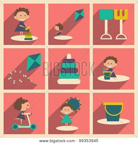 Flat with shadow concept and mobile application Kids toys