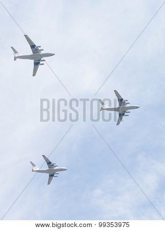Three Military Transport Aircraft Il-76