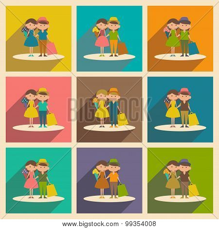 Flat with shadow concept and mobile application  young couple