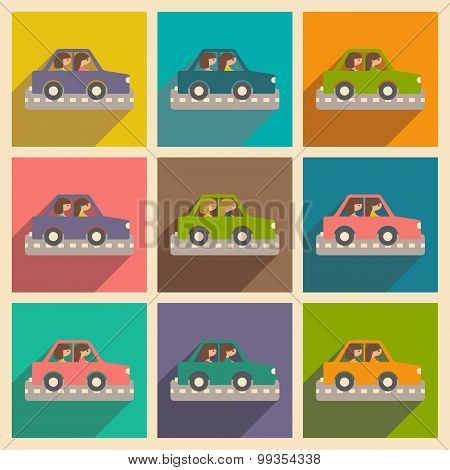 Flat with shadow concept and mobile application girl car