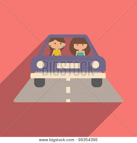 Flat with shadow icon and mobile application girl car