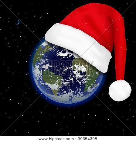 Santa Claus Hat On The Planet Earth