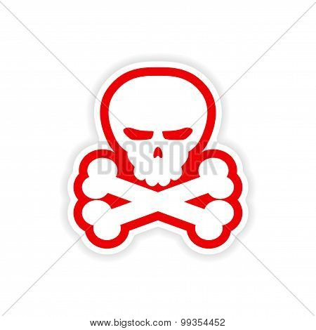 icon sticker realistic design on paper skull bones