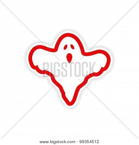 icon sticker realistic design on paper ghost