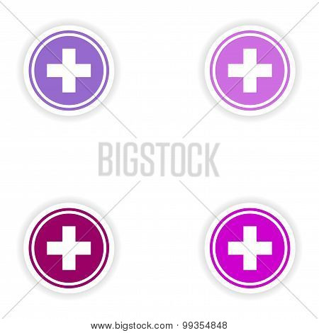 assembly realistic sticker design on paper medicine logo