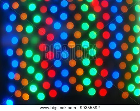 Top View On The Blurred Bright Circles Colored Abstract