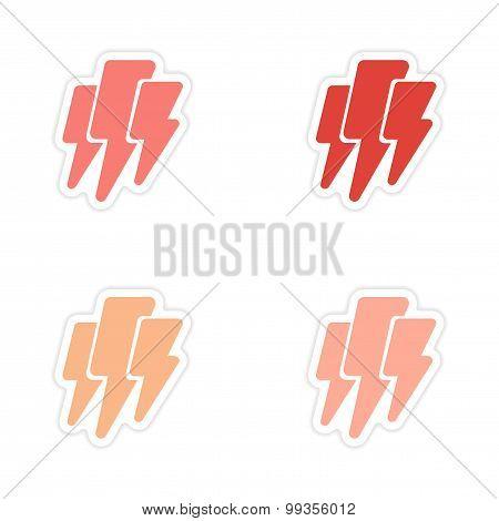 Set of 4  sticker design on paper lightning