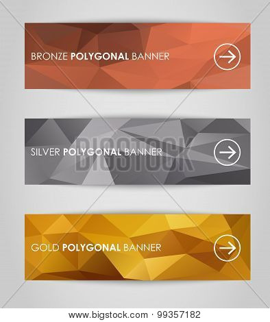 Set Of Geometric Polygonal Banner